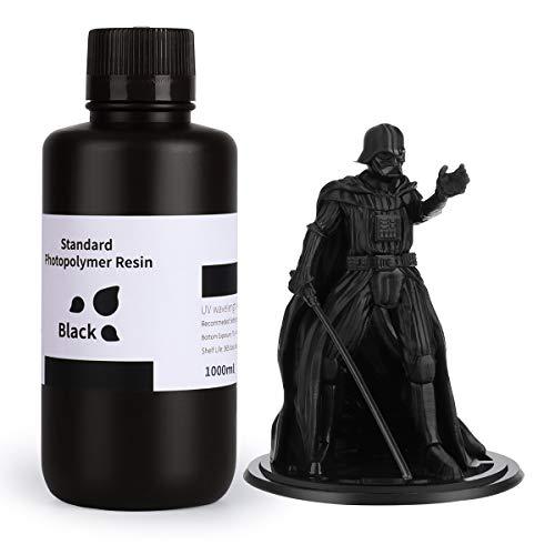 ELEGOO LCD UV 405nm Rapid Resin für LCD 3D Drucker Photopolymer Kunstharz Flüssige 3D-Druckmaterialien Super Schwarz 1000g