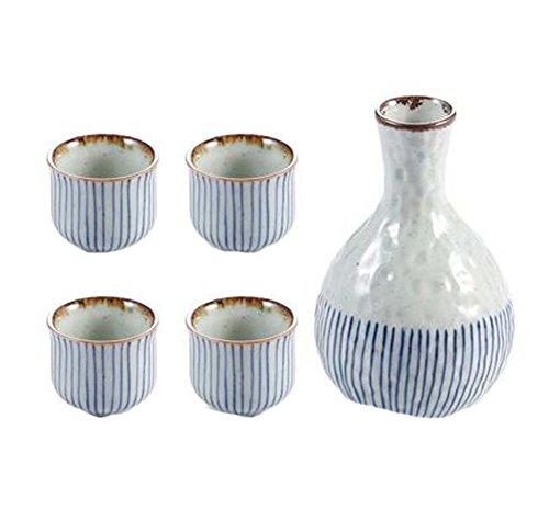 Panda Legends Set von 5 japanischen Stil Wide Shape Cup Sake Pot Winebowl Set, Blue Stripes -