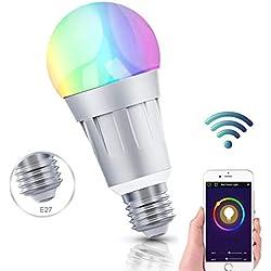 Ampoule LED Couleur,Wifi Ampoule Connectée Compatible avec Amazon Alexa Echo Contrôle par Smartphone (iOS/Android),avec Changement de Couleur,Choix de scène,APP Contrôle à Distance (E27-1PACK-2)
