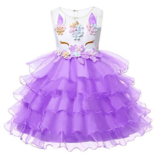 YuanDian Mädchen Kinder Karneval Kostüm Einhorn Kleid Halloween Faschings Prinzessin Festkleider Tüll Verkleidung Geburtstag Party Weihnachten Performance Kleider 2# Violett 150