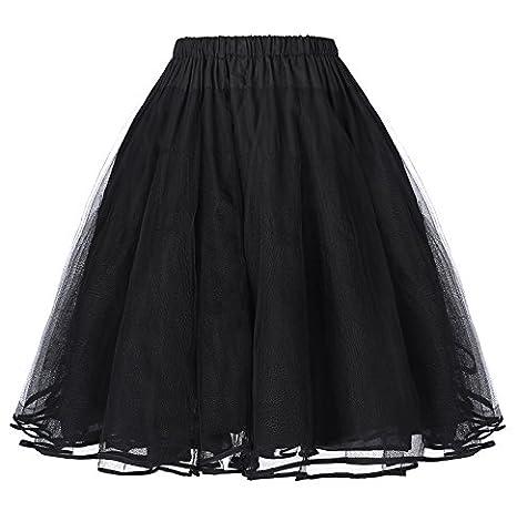 Robe Noir Vintage - Belle Jupon Vintage Rétro sous Robe Crinoline