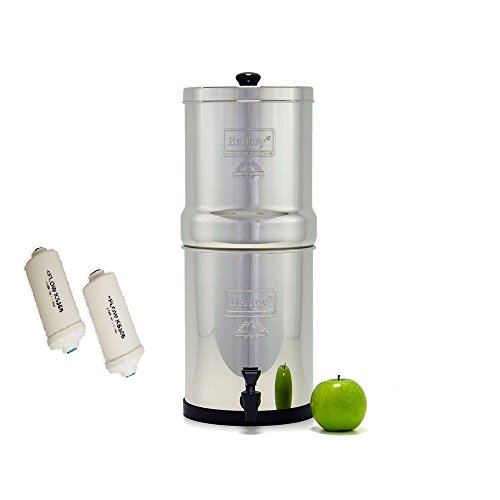 TRAVEL BERKEY WATER FILTER WITH 2 BLACK BERKEY FILTERS AND 2 PF2 FLUORIDE FILTERS BY BERKEY