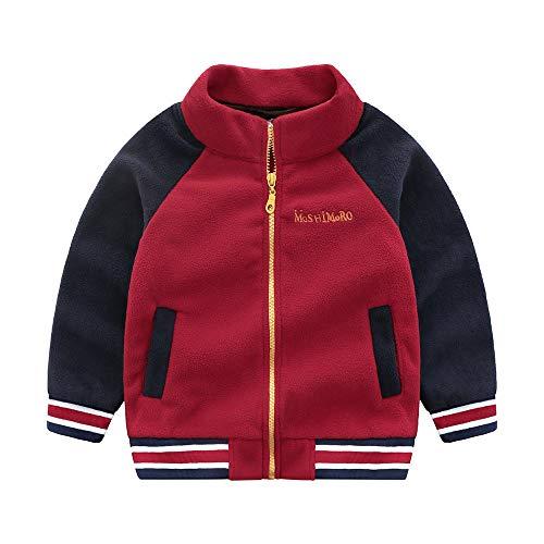 Beikoard_Babykleidung Kinder Fleece Farbabstimmung Reißverschluss Baseball-Uniform Mantel Outwear Kleidung