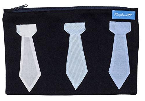 Aufbewahrung/Tasche/Etui Krawatte Schlips Geschenk Männer Blau Weiß 27 x 17 cm 100% Baumwolle Fairtrade Ringelsuse