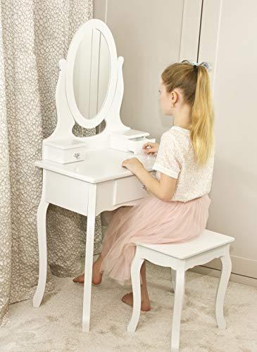 Runesol Coiffeuse pour Filles avec Tabouret et Miroir, Petite Table de Toilette pour Enfants idéale pour Les Filles 8-13 Ans, Coiffeuse en Bois Blanche de Maquillage d'enfants (8-13 Ans)