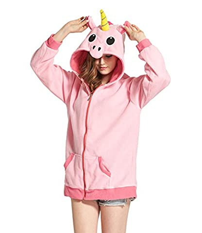 DarkCom Cartoon Licorne Vestes Cosplay Habillements Fermeture Zip Hoodies Sweat-Shirt Vêtements Rose X-Large