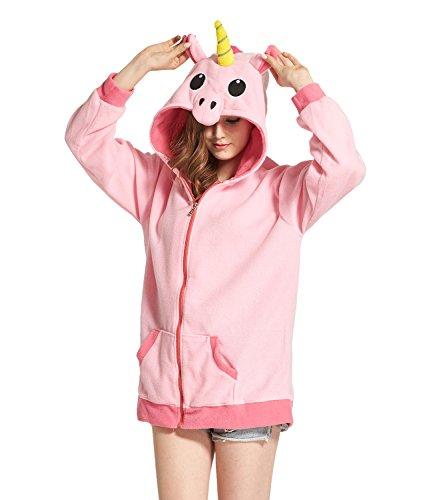 (DarkCom Cartoon Unicorn-Jacken Cosplay Kleider Reißverschluss Hoodies Sweatshirt Oberbekleidung Rosa Medium)