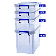 BANKERS BOX Prostore - Contenitore in plastica, 18,5 litri, 1 X 18.5 Litre + 2 X 5.5 Litre + 1 X 10 Litre