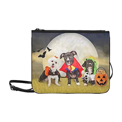 Drei niedliche kleine Welpen Hunde gekleidet benutzerdefinierte hochwertige Nylon dünne Clutch-Tasche Umhängetasche Umhängetasche (Teen Hunde Kostüm)