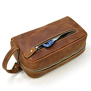 LUUFAN Cartera De Cuero Genuino con Cremallera para Hombre Cartera o Bolso De Aseo para Viajes Diarios (Brown 2)