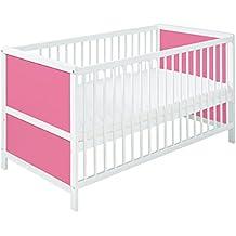 Cuna bebé convertible en cama infantil 140cm x70cm pino macizo color blanco con lados rosados SIMPLE. ENVÍO GRATIS!!! COLCHÓN GRATIS!!