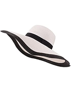 YUUVE Sombrero de paja de verano para señoras Gorra plegable para playa Sombrero ancho para sombrero grande Fedora...