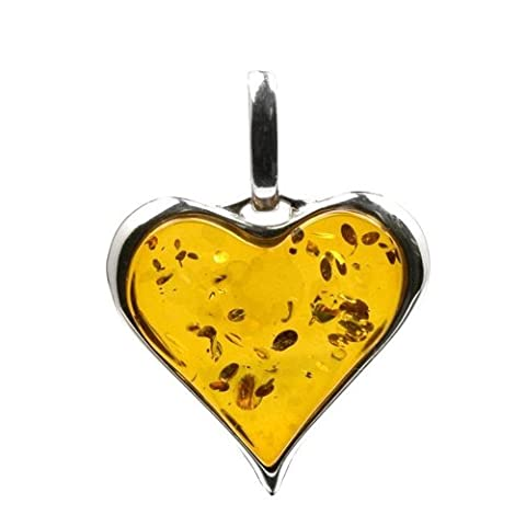 Baltic Honey Amber Sterling Silver Heart Shaped Pendant