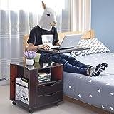 DIY cabinet Laptop Schreibtisch Schlafzimmer Nachttisch mit 2 Schubladen, Multifunktionale Mobile Lagerung Nachttisch Schrank (Farbe : Black Walnut)