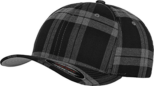 Flex fit Bonnet Tartan Plaid S/M Noir/Gris
