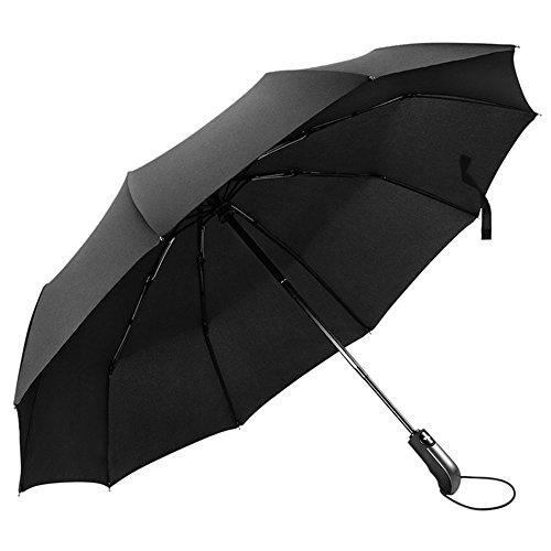 Regenschirm Taschenschirm Stockschirm, MLoveBiTi 10-Rippen Winddicht Schirm mit 210T Stoff, Schnell Trocken, voll-automatischer Auf-Zu-Automatik Transportabel Kompakt Taschenschirm,105cm Groß, Schwarz