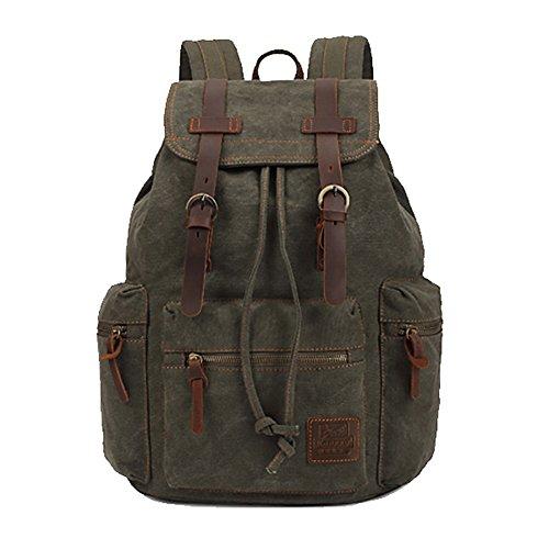 Kaukko Escuela Mochila Hombres Mujeres Vintage Canvas Backpack Senderismo Bolsa Casual Bolsa de viaje para Sony / Canon / Nikon / Olympus / iPad y Tablet Samsung / Laptop de 14'' (Verde)