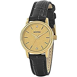 MONTINE MOW4083LSG LADIES GOLD PLATED BLACK LEATHER STRAP WATCH