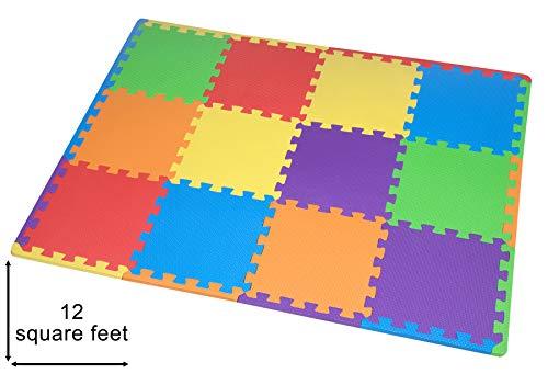 Juego de alfombrillas de espuma EVA para niños de Edukit, 12 azulejos de espuma de diferentes colores, que se conectan entre sí