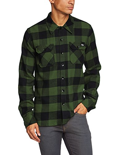 Dickies Herren Regular Fit Freizeit Hemd Sacramento, Gr. Medium, Grün (Pine Green PG) (100% Baumwolle Twill Shirt)