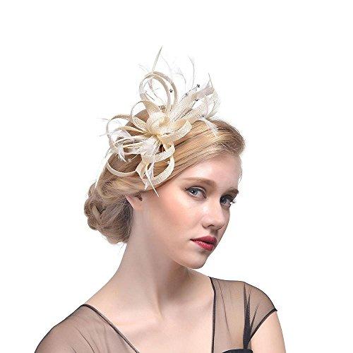 (Hffan Hat Fascinator Haar Clip Haar Accessoire Tea Party Hochzeitskirche Kopfbedeckung für Frauen Blume Mesh Bänder Stirnband Cocktail Hut Kopfbedeckung Blumenschleier Haarspange (Weiß, 1 PC))