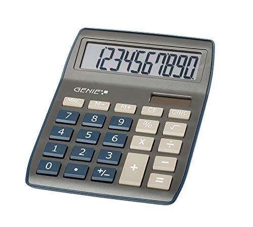 Genie 840 DB 10-stelliger Tischrechner, Dual-Power (Solar und Batterie), kompaktes Design, dunkelblau