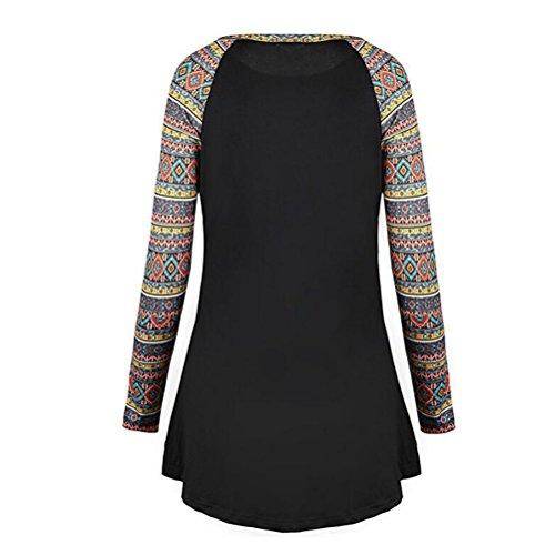 Zhuhaitf Beau et confortable National Style Stripes Stitch Dresses Shirt Designer T shirts Womens Tops Long Sleeve Black