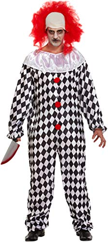 ex Scary Halloween Clown Costume Adults Evil Scream Horror Party Wear Dress (Adults Clown Costume, One Size) ()