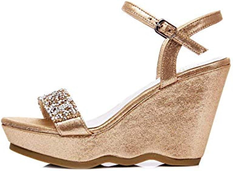 Eeayyygch Chaussures 9.5cm, 12cm, Été Or,  s compensées la à la compensées Mode, Strass à Fond épais (coloré : Gold9.5cm...B07JW5V82PParent f2908e