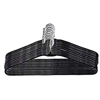 IVAAN Stainless Steel Hangers Black, Metal Clothes Hanger with Plastic Coating, 16 Inches Wide, Set of 20 (Black)
