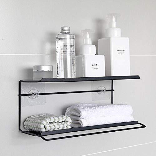 Slivy Double-Layer-Design Mehrzweck Eisen Kunst Dusche Veranstalter Wand Punch-Free Bad Container Küchenhalter mit Handtuchhalter (schwarz) (Color : Black) (Das Schwarz-wand-kunst Für Bad)