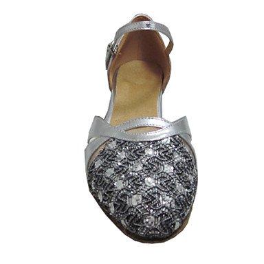 sandali tacco donna in con Salsa latina alto scamosciata Silver pelle da danza ndSYqwYxI