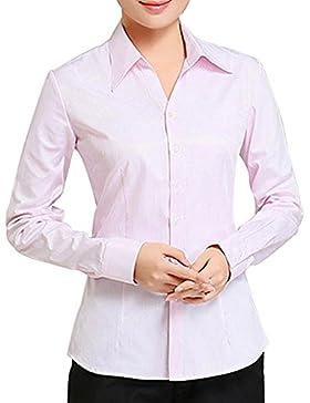 BOZEVON Camicia da lavoro da donna in a manica lunga unità donna