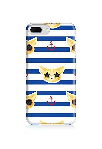 COVER Katze cat Tier marine navi Streifen Design Handy Hülle Case 3D-Druck Top-Qualität kratzfest Apple iPhone 8