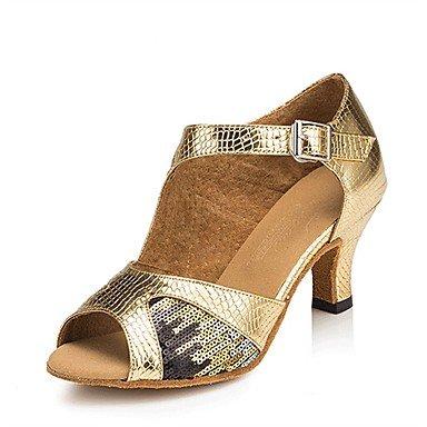 XIAMUO Anpassbare Damen Tanz Schuhe Kunstleder/Paillette Latin/Salsa Sandalen/Fersen angepasste Ferse Innen-/ Golden