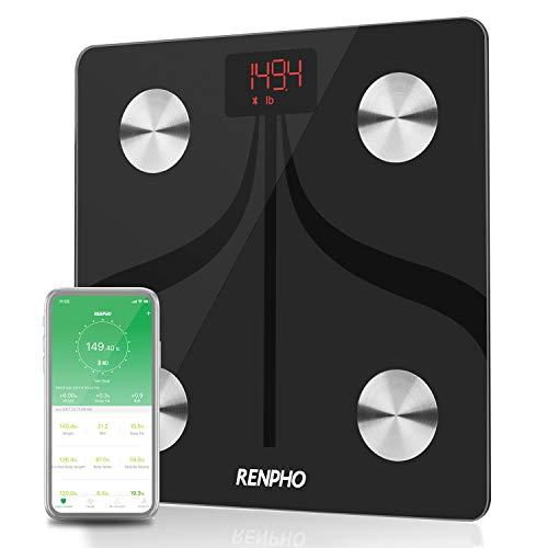 RENPHO Körperfettwaage, Bluetooth Personenwaage mit App, Smart Digitale Waage für Körperfett, BMI, Gewicht, Muskelmasse, Wasser, Durch USB Kabel Wiederaufladbare Körperanalysewaagen