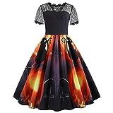 SEWORLD Damen Halloween Kleidung,Mode Halloween Spitze Kurzarm Retro Vintage Kleid Eine Linie Kürbis Swing Kleid(E-e-schwarz,EU-36/CN-L)