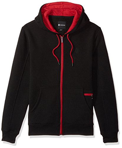 Akademiks Men's Long Sleeve Zip-up Hoodie Sweatshirt, Black/Red, Small (Hoodie Akademiks)