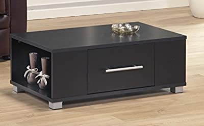 Coffee Table Black 1 Drawer Occasional Reception Table Silver Handles Sorrento