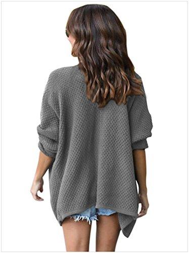 AN-LKYIQI Signore a maniche lunghe maglione casuale di modo solido di colore sezione lunga Large Size Cardigan Jacket 4 colori 4 formati Gray