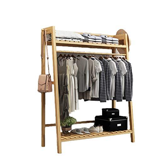 TELLMNZ Multipurpose Bambus Eingangsbereich Kleiderständer mit Regal, Premium Mantelständer Schuhe Rack, Mit Roller Hohe qualität Heavy-Duty Hall Home-O 100x40x140cm(39x16x55inch)