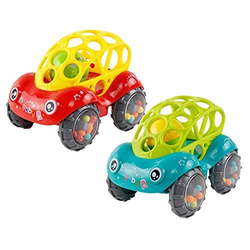 Sicherheit Baby-Rassel-Rollauto-Spielzeug, Babys Spielzeugautos, niedliche weiche Trägheit gleitendes Spielzeugauto mit bunten Kugeln, frühes pädagogisches Spielzeug - leicht zu greifen mit klaren Rhy (Auto-springen-kit)