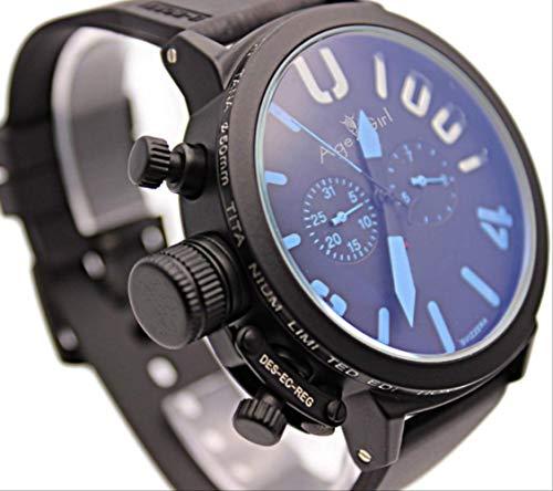 HHGDSB Armbanduhren New Herren Sport Black Rubber Classic U Runde automatische mechanische linken Haken Handuhr Big 50mm Boat Herrenuhrenschwarz blau