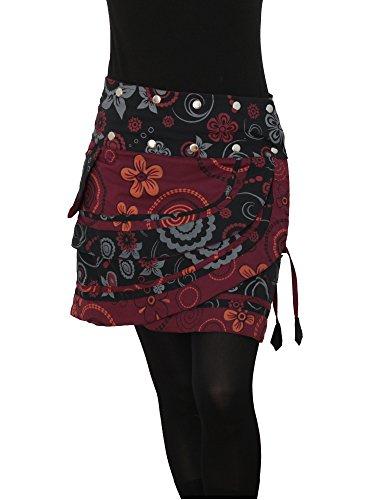 PUREWONDER süßer Wickelrock für Damen, 100% Baumwolle, verstellbare Größe, Rock mit Tasche, Design Nr. 182 Schwarz (Damen Rock Design)