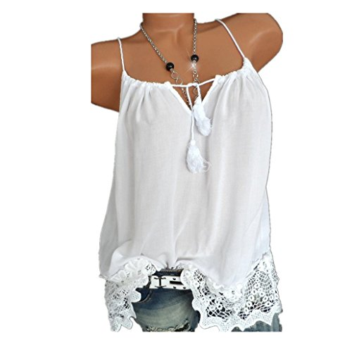 OYSOHE Damen Spitze Weste Frauen Patchwork Tops Ärmellos Tank Cami Bluse Pullover Sommer Shirt (Neckholder Rock Vogue)