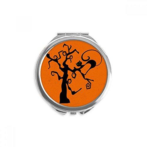 (DIYthinker Kratzbaum Halloween Hallowmas orange Spiegel Runde bewegliche Handtasche Make-up 2.6 Zoll x 2.4 Zoll x 0.3 Zoll Mehrfarbig)