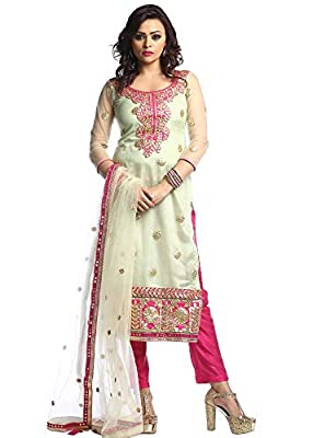 Adhira Women's Cotton Silk 1 Gotta Patti Suit (5226985, Pastel Green, Free Size)