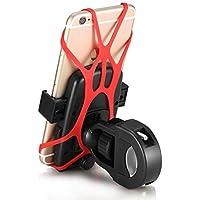 Yugee®, Supporto universale per manubrio bicicletta e moto, attacco per mountain bike, per GPS e cellulare, multifunzione con rotazione a 360°, Pinza robusta con fascia in Silicone, pulsante di bloccaggio, massima sicurezza anti-caduta per Apple iPhone 6/6 Plus/5S/5C/4/4S/Samsung Galaxy S3/S4/S5/Note 4, 3/Nexus & altri Smartphone, GPS, ecc.