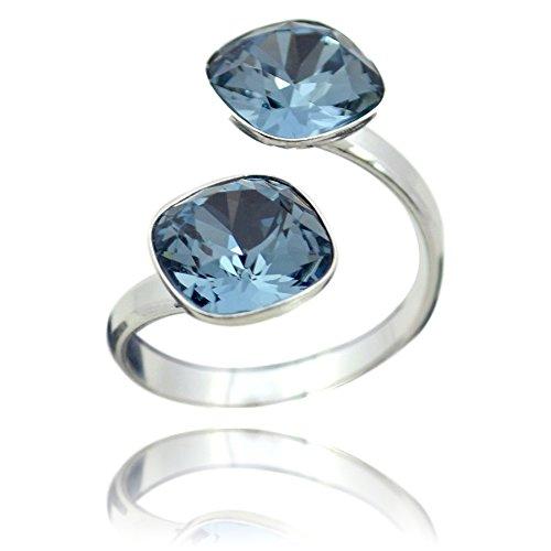 Crystals & Stones Swarovski *DOPPELT SQUARE* *VIELE FARBEN* 925 Silber Ring Swarovski Elements - 925 Sterling Silber Damen Ring Größe Verstellbar (Denim Blue)
