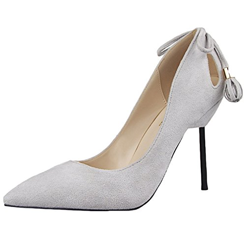 Oasap Femme Chaussure Pointue A Talons Hauts Talon Aiguille Light Grey
